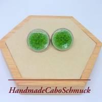 20mm Edelstahl Cabochon Ohrringe, Ohrstecker, hellgrün, gecrackelt ,cracked, crackled, Porzellan, Keramik  Bild 1
