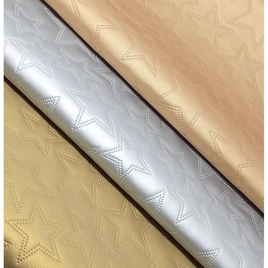 Kunstleder STERNE metallic gesteppt 360 g / m² Größenauswahl + Farbauswahl Bild 1