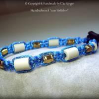 EM-Keramik Halsband in Türkis mit eingearbeiteten Goldfaden Bild 1