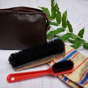 Leder Schuhputzzeug, Ledermappe mit Schuhputzzeug, perfekt für die Reise, praktisch, aus Leder, Vintage, gut erhalten, M Bild 1