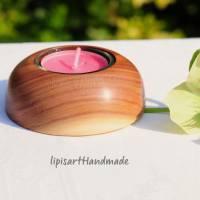 Edler Teelichthalter - Pflaume Holz gedrechselt Halbkugel 3 Bild 1