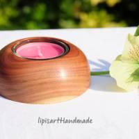 Edler Teelichthalter - Pflaume Holz gedrechselt Halbkugel 3 Bild 2