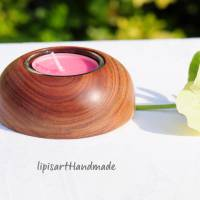 Edler Teelichthalter - Pflaume Holz gedrechselt Halbkugel 3 Bild 3
