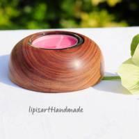 Edler Teelichthalter - Pflaume Holz gedrechselt Halbkugel 3 Bild 4