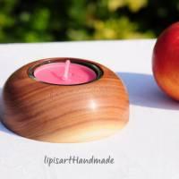 Edler Teelichthalter - Pflaume Holz gedrechselt Halbkugel 3 Bild 5