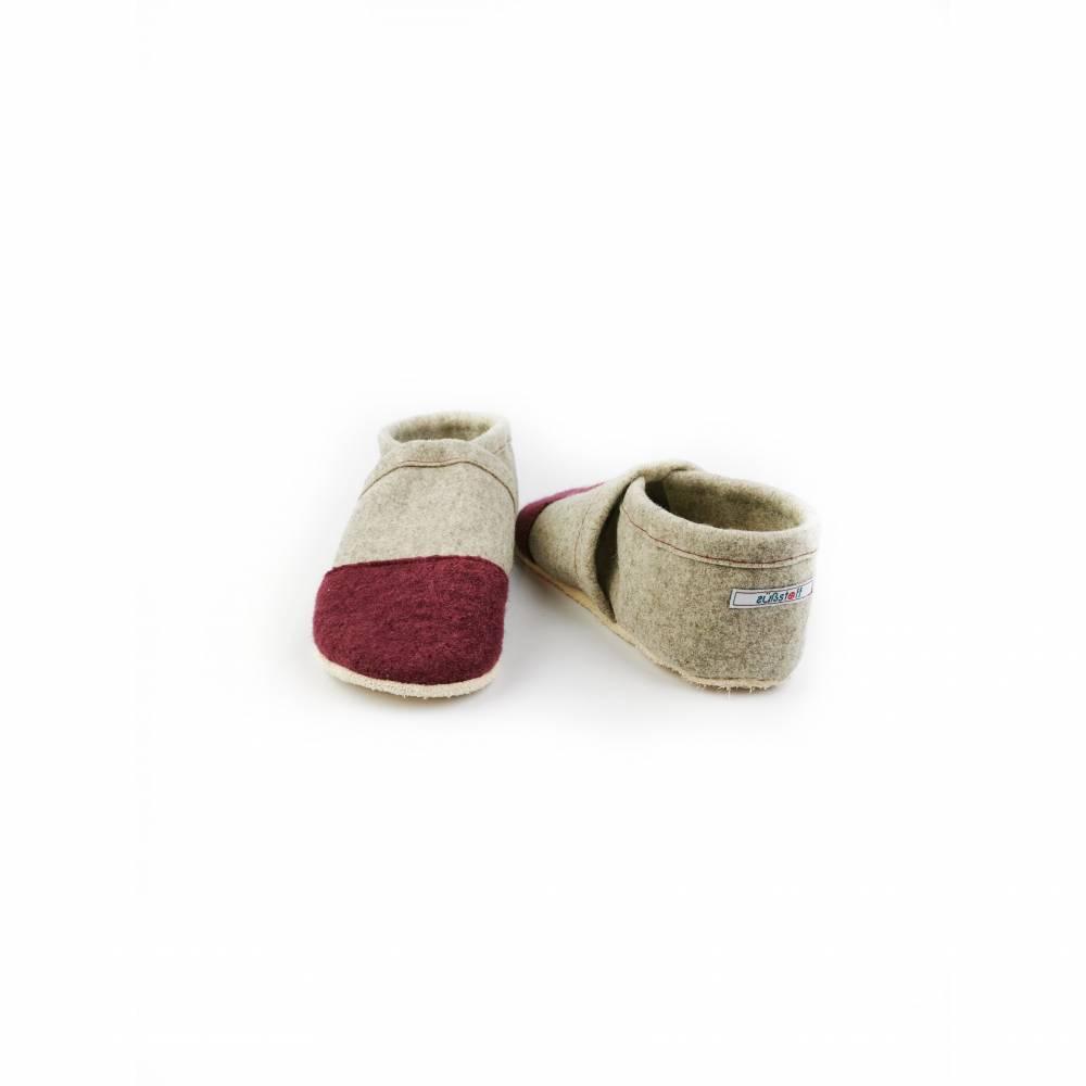 Hausschuhe aus 100% Wollfilz mit Kappe in altrosa und Ledersohle  Bild 1