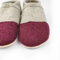Hausschuhe aus 100% Wollfilz mit Kappe in altrosa und Ledersohle  Bild 4