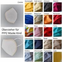FFP2 Kindermasken Überzug, Überzieher für Kindermaske, Cover aus Stoff in vielen verschiedenen bunten Farben, 1lagig Bild 1