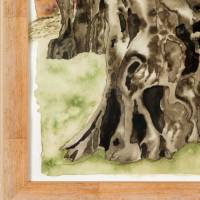 2000-jähriger Olivenbaum in Pedras d'el Rei (Portugal) - Original Aquarellmalerei, gerahmt Bild 5