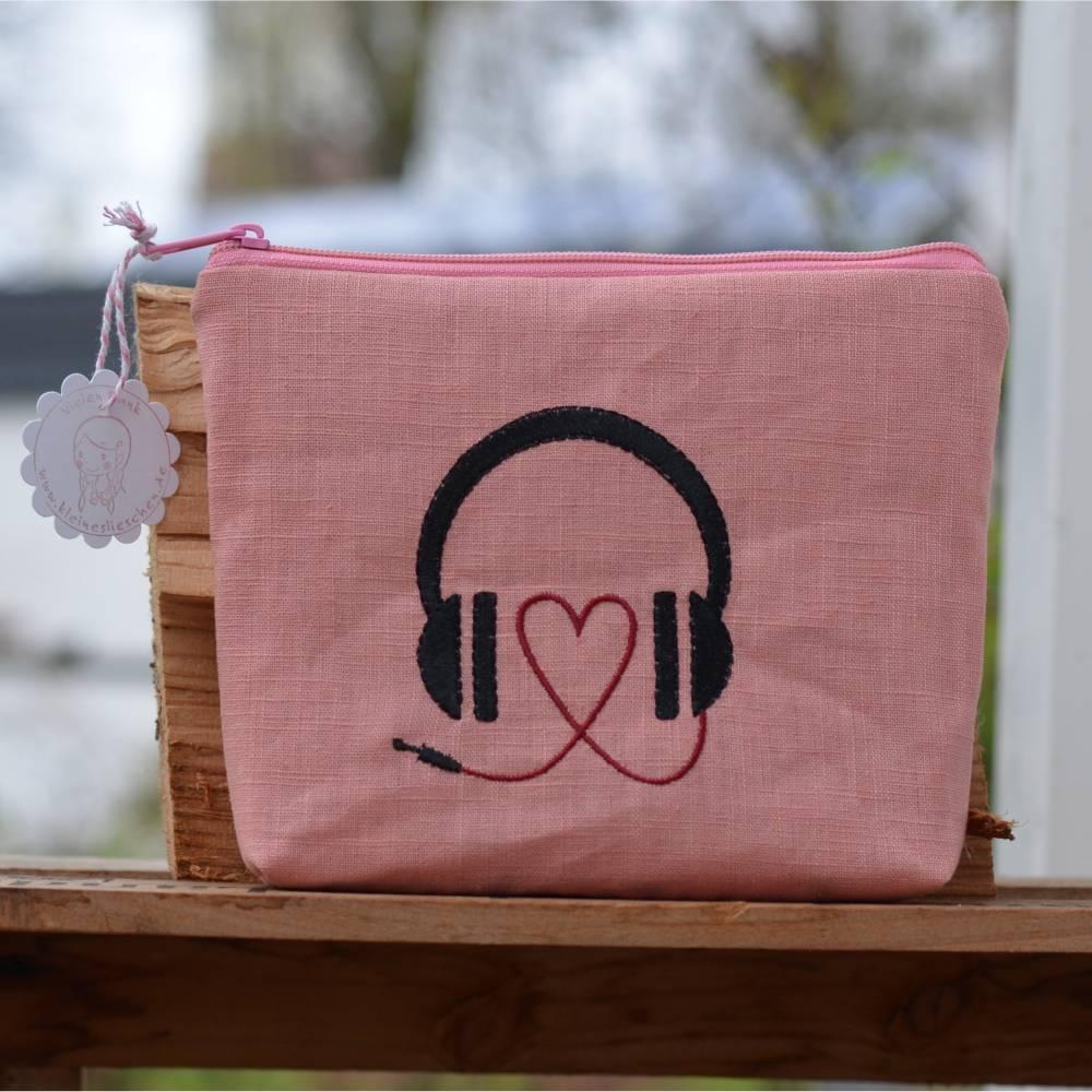 Headset/Kopfhörertasche  Reisetasche Urlaubstäschchen rosa Bild 1