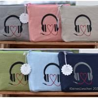 Headset/Kopfhörertasche  Reisetasche Urlaubstäschchen rosa Bild 4