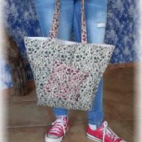 Shopper, Strandtasche, Einkaufstasche, Markttasche, Stoffbeutel, zum Wenden, Raumwunder, Schultertasche mit viiiel Platz Bild 4