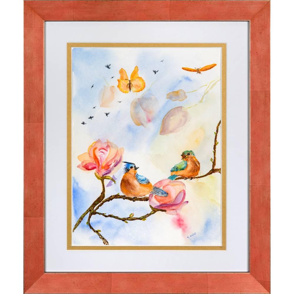 Verliebtes Vogelpärchen - Original Aquarellmalerei, gerahmtes Unikat Bild 1