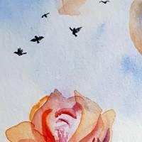 Verliebtes Vogelpärchen - Original Aquarellmalerei, gerahmtes Unikat Bild 2