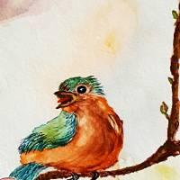 Verliebtes Vogelpärchen - Original Aquarellmalerei, gerahmtes Unikat Bild 3