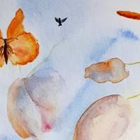 Verliebtes Vogelpärchen - Original Aquarellmalerei, gerahmtes Unikat Bild 4