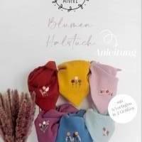 Digitale Anleitung handbesticktes Halstuch mit 6 Blumenmotiven in 2 Größen -  Schritt-für-Schritt zur ersten Stickerei Bild 1