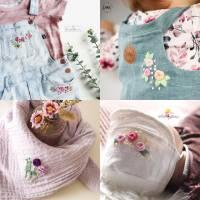 Digitale Anleitung handbesticktes Halstuch mit 6 Blumenmotiven in 2 Größen -  Schritt-für-Schritt zur ersten Stickerei Bild 2