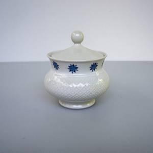 Zuckerdose von Seltmann Weiden, Serie Annabell, Dekor mit blauen Blumen, Geschirr aus den 1970er Jahren, Bild 1
