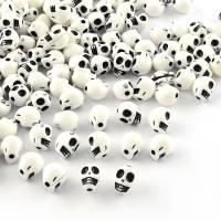 10 Perlen, Acryl, Schmuckperlen,  Scrull, Totenkopf Bild 1