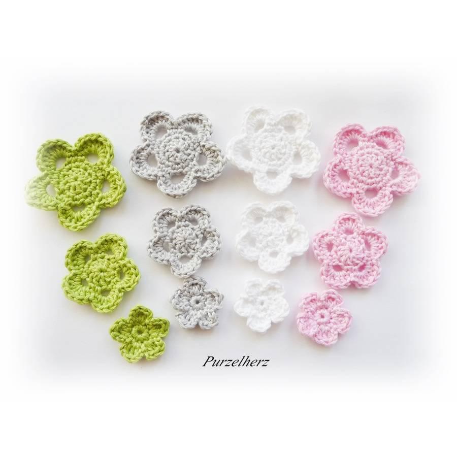 12-teiliges Häkelset - Häkelblumen,Aufnäher,3D Blumen,weiß,rosa,grün,grau Bild 1