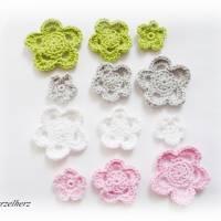 12-teiliges Häkelset - Häkelblumen,Aufnäher,3D Blumen,weiß,rosa,grün,grau Bild 2