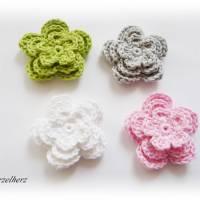12-teiliges Häkelset - Häkelblumen,Aufnäher,3D Blumen,weiß,rosa,grün,grau Bild 3