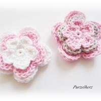 12-teiliges Häkelset - Häkelblumen,Aufnäher,3D Blumen,weiß,rosa,grün,grau Bild 4