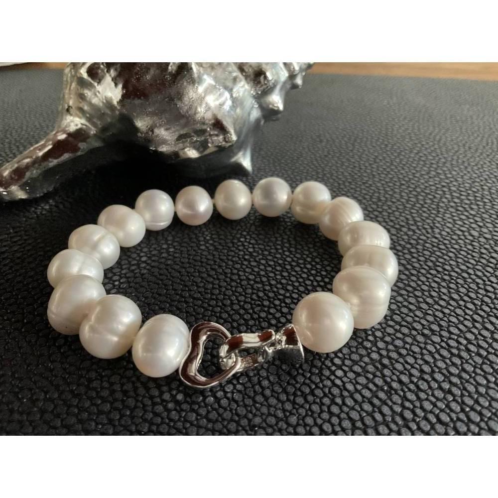 Echtes Perlenarmband mit Echt Silber Herz-Verschluss,Traumhaft schönes Perlenarmband mit Silber Herz,Perlenarmband Hochz Bild 1