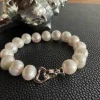 Echtes Perlenarmband mit Echt Silber Herz-Verschluss,Traumhaft schönes Perlenarmband mit Silber Herz,Perlenarmband Hochz Bild 2
