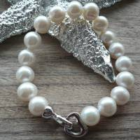 Echtes Perlenarmband mit Echt Silber Herz-Verschluss,Traumhaft schönes Perlenarmband mit Silber Herz,Perlenarmband Hochz Bild 3