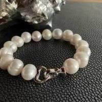 Echtes Perlenarmband mit Echt Silber Herz-Verschluss,Traumhaft schönes Perlenarmband mit Silber Herz,Perlenarmband Hochz Bild 4