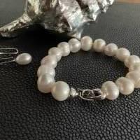 Echtes Perlenarmband mit Echt Silber Herz-Verschluss,Traumhaft schönes Perlenarmband mit Silber Herz,Perlenarmband Hochz Bild 5