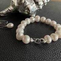 Echtes Perlenarmband mit Echt Silber Herz-Verschluss,Traumhaft schönes Perlenarmband mit Silber Herz,Perlenarmband Hochz Bild 6
