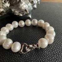 Echtes Perlenarmband mit Echt Silber Herz-Verschluss,Traumhaft schönes Perlenarmband mit Silber Herz,Perlenarmband Hochz Bild 8