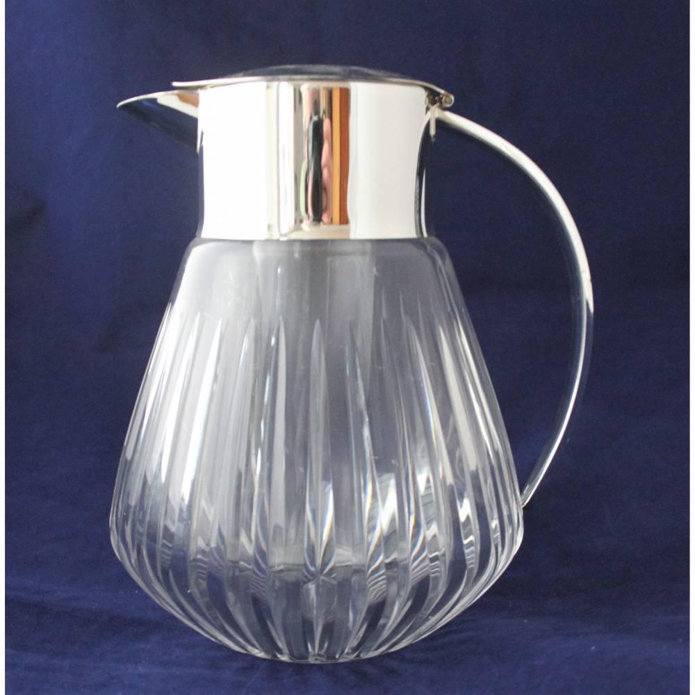 alte Glaskaraffe mit Glaseinsatz Kalte Ente 60er Jahre Bild 1