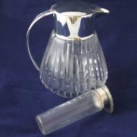 alte Glaskaraffe mit Glaseinsatz Kalte Ente 60er Jahre Bild 3