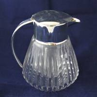 alte Glaskaraffe mit Glaseinsatz Kalte Ente 60er Jahre Bild 4
