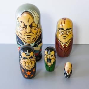 Matroschka, Russische Präsidenten, Matruschka, Matrjoschka, Babuschka, 5 teilig, Russische Puppe, alt, Vintage, Holzpupp Bild 1