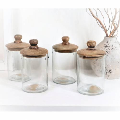 Glas mit Holzdeckel, Landhausdeko