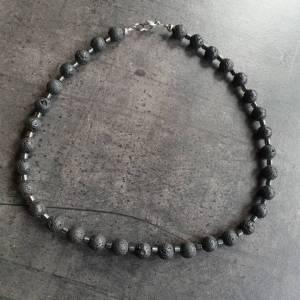 DRAHTORIA Kette für den Mann  Lavaperlen und Hämatit Perlen Edelstahl Perlenkette Edelstein Männer Herren unisex Bild 4