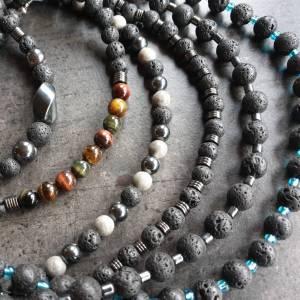DRAHTORIA Kette für den Mann  Lavaperlen und Hämatit Perlen Edelstahl Perlenkette Edelstein Männer Herren unisex Bild 8