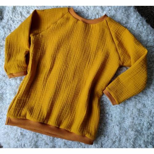 Musselin Langarmshirt Uni Farben Baumwolle Ökotex - 86 92 98 104 110 116 122