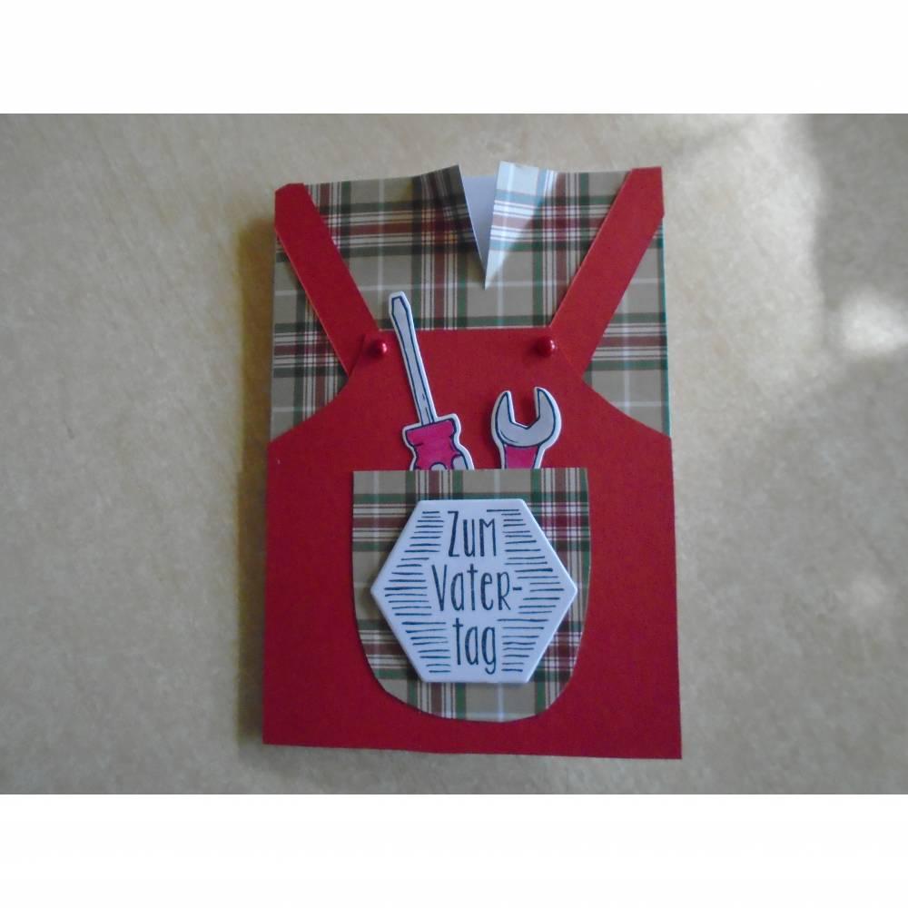 Vatertag, Vatertagskarte,Glückwunschkarte zum Vatertag ,Vater Papa,Papi,Rot, Bild 1