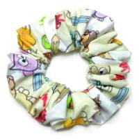 1 Haargummi Scrunchie *Bunte Tiere* Haarschmuck genäht aus Baumwollstoff Bild 1