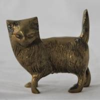 Vintage Katze aus Messing stehend Bild 1