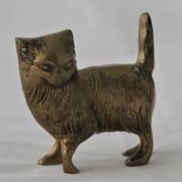 Vintage Katze aus Messing stehend Bild 2