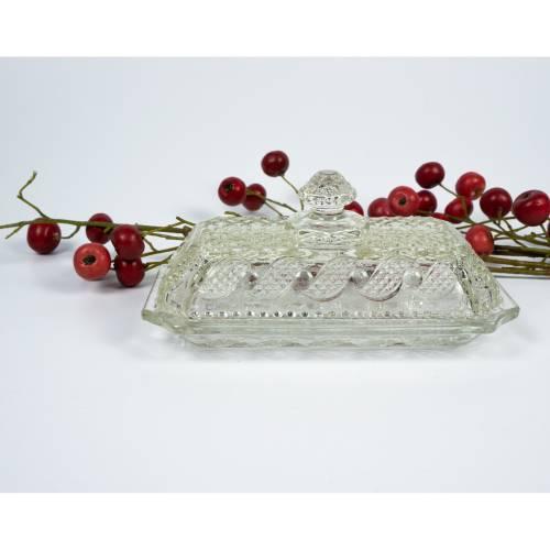 Kleine Glasschale, aus gepresstem Glas, typisch 1960er und 1970er Jahre, Vintage Schale, mit Deckel und der Bezeichnung