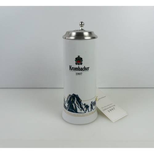 Vintage Bierkrug, Bierseidel, Keramik Krug, Werbung, Brauerei, Krug mit Zinndeckel, Sammlerstück, Korbmacher Jahreskrug