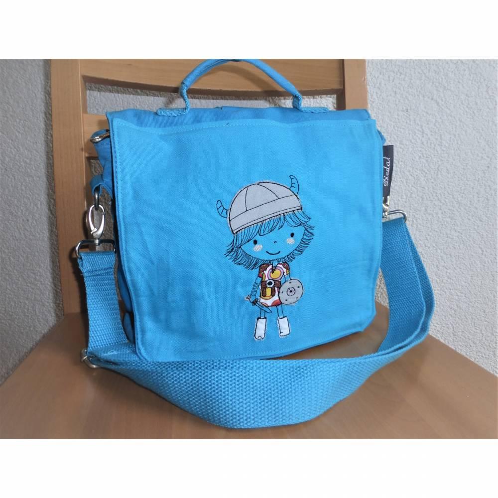 Kindertasche, Kinderrucksack, türkis, bestickt mit Wickinger, Umhängetasche, Kindergartentasche, Dieda Bild 1